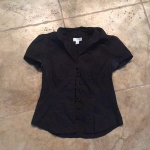 Black short sleeve button down